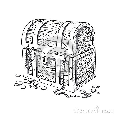 Free Hand Drawn Treasure Chest Stock Images - 69658274