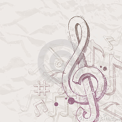 Hand drawn treble clef and notes