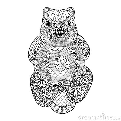 tribal animals coloring book hand drawn tribal wombat animal totem for adult coloring