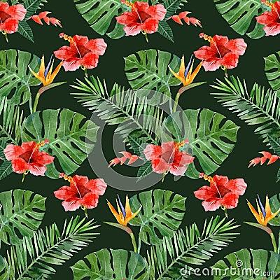 Free Hand Drawn Tropical Plants Seamless Royalty Free Stock Photo - 54721735