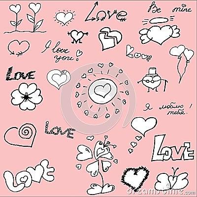 Hand drawn valentine s doodles