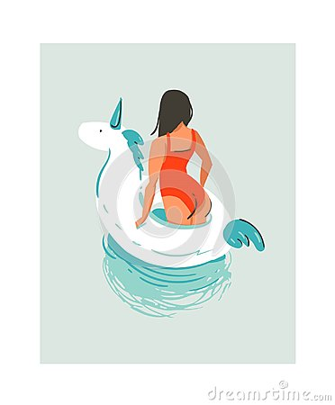 Free Hand Drawn Vector Abstract Cute Summer Time Fun Beach Young Girl Illustration With Unicorn Swimming Pool Float Rubber Stock Photos - 96681093