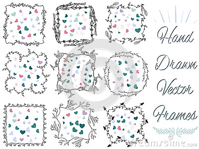 Hand drawn vector frames Vector Illustration