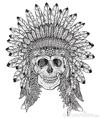 Hand drawn vector illustration of indian headdress with human sk stock