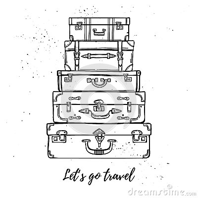 Free Hand Drawn Vector Illustration - Let S Go Travel. Fashion Suitca Stock Photo - 78641580