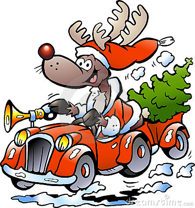 Hand-drawn Vector illustration of an Reindeer Driv
