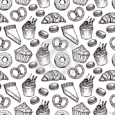 Free Hand Drawn Vector Illustration - Seamless Pattern With Sweet And Royalty Free Stock Photo - 68513855