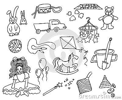 Hand drawn vector illustration set of kids toys on white background Vector Illustration