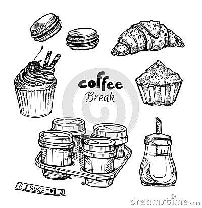 Free Hand Drawn Vector Illustration - Set With Dessert Stock Photo - 68513400