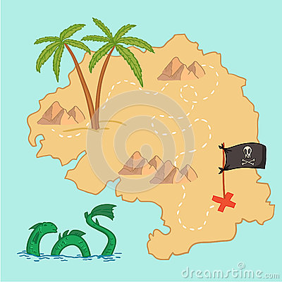Free Hand Drawn Vector Illustration - Treasure Map And Design Element Royalty Free Stock Photo - 47712595