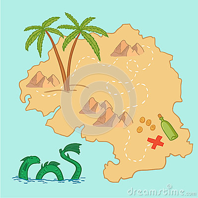 Free Hand Drawn Vector Illustration - Treasure Map And Design Element Stock Image - 47712611