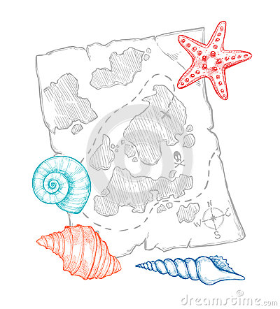 Free Hand Drawn Vector Illustration - Treasure Map With Sea Shells An Stock Photography - 86664882