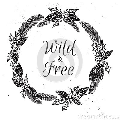 Hand drawn vector illustration. Vintage decorative christmas wre Vector Illustration