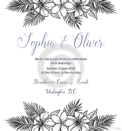 Hand drawn vector illustration - wedding invitation with bouquet Vector Illustration