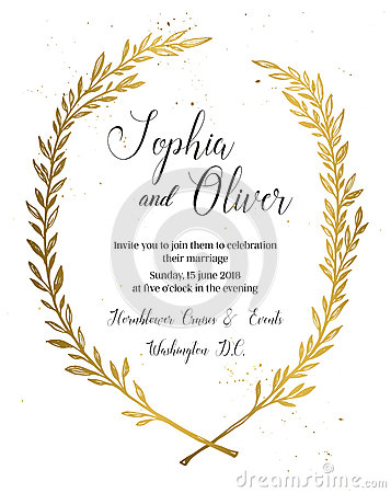 Hand drawn vector illustration - wedding invitation with vintage Vector Illustration