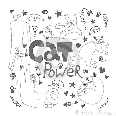 Doodle with cute cats and lettering cat power Vector Illustration