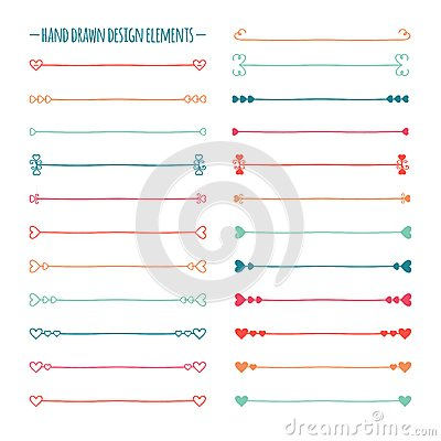 Free Hand Drawn Vector Line Border Set And Scribble Stock Photography - 50078282