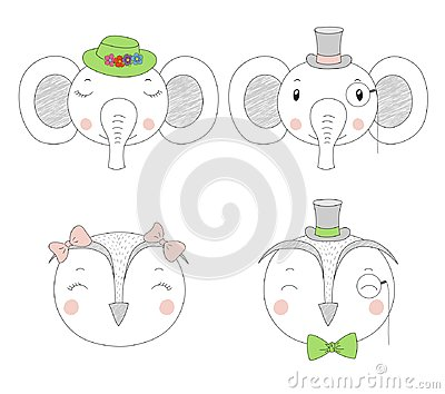 Cute elephants and owls girls and boys portraits Vector Illustration