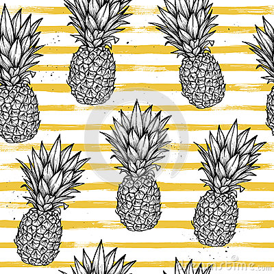 Free Hand Drawn Vector Seamless Pattern - Pineapple With Striped Back Stock Images - 77597054
