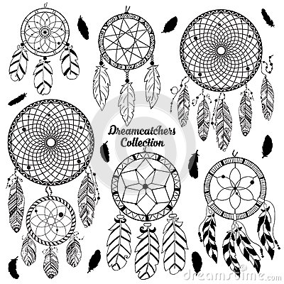 Free Hand Drawn Vector Set With Dreamcatchers Stock Photography - 68305472