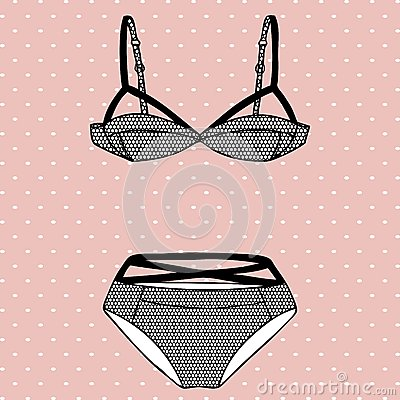Hand drawn vector sexy lingerie set.