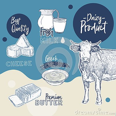 Free Hand Drawn Vector Sketch Dairy Products Set - Vector Stock Images - 144892484