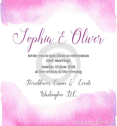 Hand drawn vector watercolor illustration. Wedding invitation wi Vector Illustration