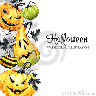 Free Hand Drawn Vertical Banner With Watercolor Pumpkins And Leaves. Halloween Holiday Illustration. Funny Food. Magic Stock Photos - 98216863