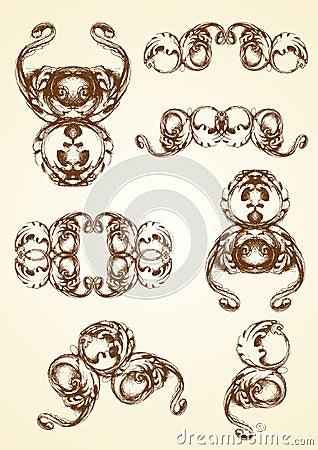 Hand drawn vintage acanthus