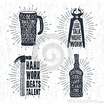 Free Hand Drawn Vintage Badges Set With Textured Thermo Cup, Pincers Vector Illustrations. Royalty Free Stock Images - 92229479