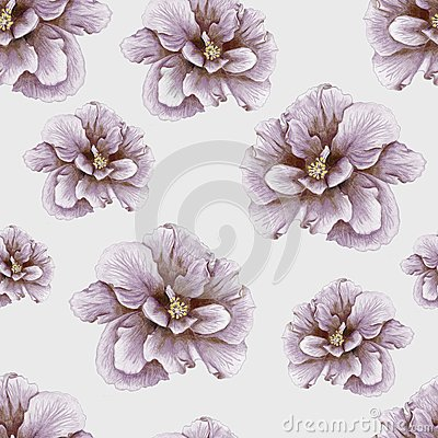 Hand-drawn vintage hibiscus pattern
