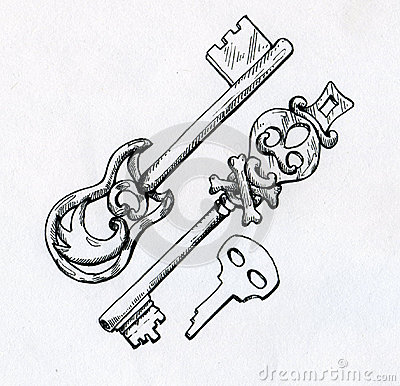 Hand drawn vintage keys