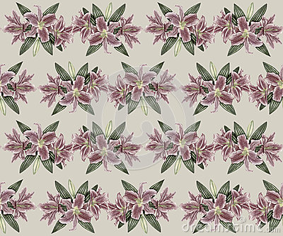 Hand-drawn vintage lily seamless pattern