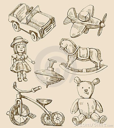 Free Hand Drawn Vintage Toys Collection Stock Photo - 23977560