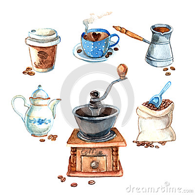 Free Hand Drawn Vintage Watercolor Coffee Set Stock Images - 52141974