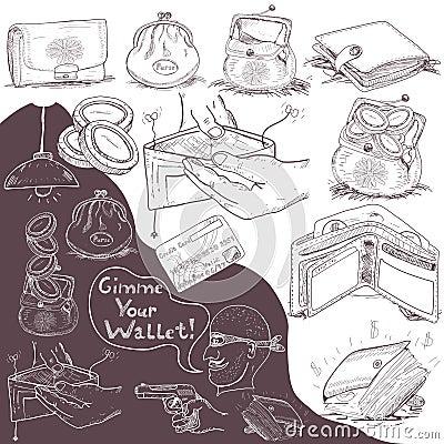 Hand drawn wallet set