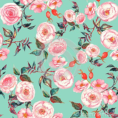 Free Hand Drawn Watercolor Floral Seamless Pattern With Tender Pink Roses In On The Light Blue Background Royalty Free Stock Photos - 49255558