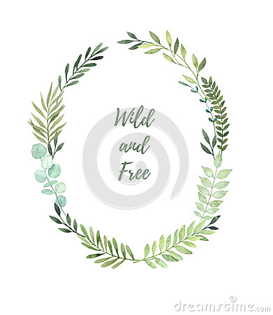 Hand drawn watercolor illustration. Laurel Wreath with leaves an Cartoon Illustration