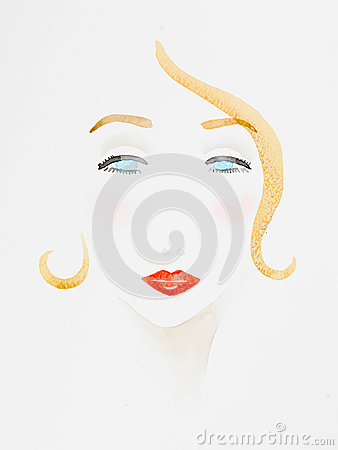 Free Hand Drawn Watercolor Illustration Of Beautiful Woman Royalty Free Stock Photo - 30216125