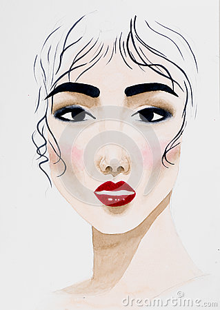 Free Hand Drawn Watercolor Illustration Of Beautiful Woman Stock Photography - 30216132