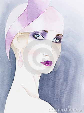 Free Hand Drawn Watercolor Illustration Of Mysterious Woman Stock Photography - 30217532
