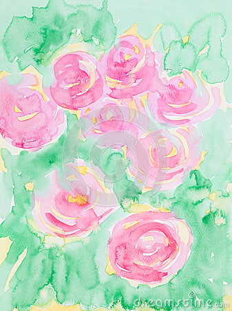 Free Hand Drawn Watercolor Illustration Of Pink Flowers Stock Image - 30217561
