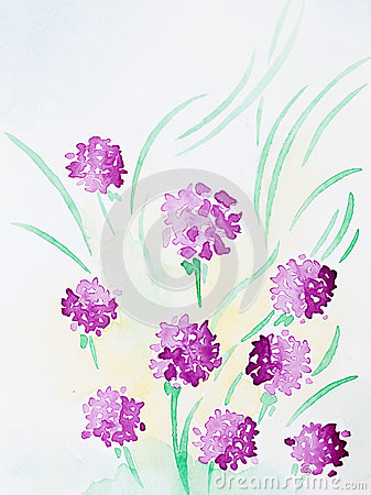 Free Hand Drawn Watercolor Illustration Of Purple Flowers Stock Photos - 30217573