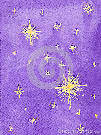 Free Hand Drawn Watercolor Illustration Of Starry Sky Stock Photography - 30217622