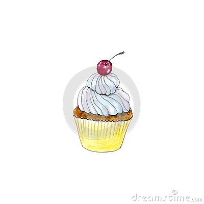 Hand drawn watercolor isolated cupcake with cherry Stock Photo