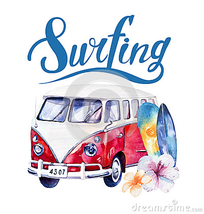 Free Hand Drawn Watercolor Ocean Surfing Set. Beach Holiday Tropical Stock Photos - 68674253