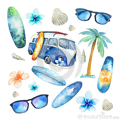 Free Hand Drawn Watercolor Ocean Surfing Set. Beach Holiday Tropical Royalty Free Stock Photography - 70840587