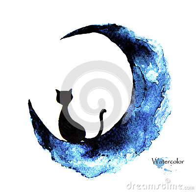 Free Hand Drawn Watercolor Painting Of Black Cat Sitting On The Moon Royalty Free Stock Images - 94756879