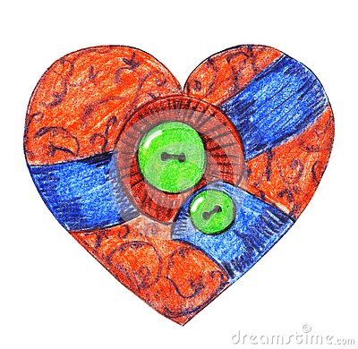 Vintage textile heart with green buttons. Cartoon Illustration