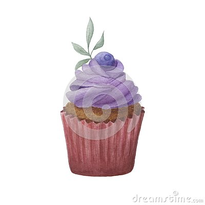 Hand drawn watercolor purple and dark pink cupcake Stock Photo